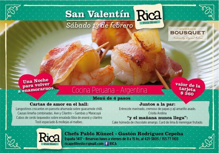 Flyer Rica Cena enamorados